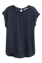 Short-sleeved blouse - Dark blue - Ladies | H&M CN 2