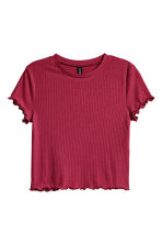 Ribbed top - Dark red - Ladies | H&M CN 2