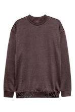 Brushed sweatshirt - Dark brown - Men | H&M CN 1