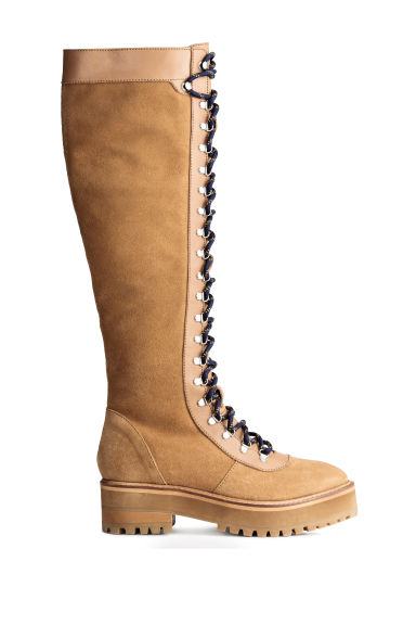 Knee-high leather boots - Beige - Ladies | H&M CA 1