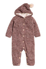 Knitted all-in-one suit - Brown marl -  | H&M CN 1