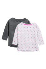 2-pack long-sleeved tops - Light grey/Spotted - Kids | H&M CN 2