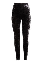 Crushed velvet leggings - Black - Ladies | H&M CN 2