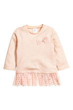 Top with tulle flounce - Powder pink - Kids | H&M CN 1