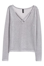 V-neck jumper - Grey/Glitter - Ladies | H&M CN 2