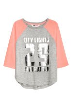Printed jersey top - Grey/Manhattan - Kids | H&M CN 1