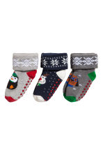3-pack terry socks - Dark blue/Reindeer - Kids | H&M CA 2