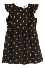 Patterned chiffon dress - Black/Heart - Kids | H&M CN 2