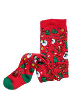 Jacquard-knit tights - Red/Snowman - Kids | H&M CN 1