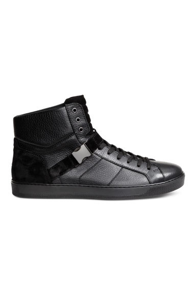 Leather and suede hi-tops - Black - Men | H&M CN 1