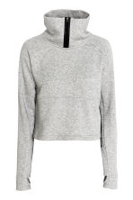 Short sports top - Light grey marl - Ladies | H&M CN 2