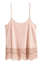 Strappy top with lace - Powder pink - Ladies | H&M 2
