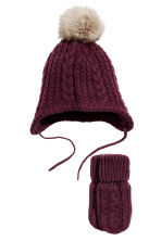Hat and mittens - Plum - Kids | H&M CN 1