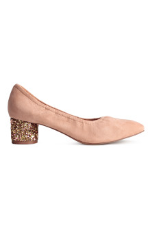 Glittery-heel court shoes