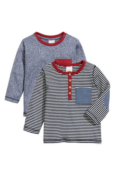 2-pack long-sleeved T-shirts - Dark blue marl - Kids | H&M CN 1