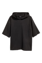 Short-sleeved hooded top - Black -  | H&M CN 2