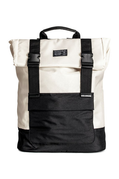 Roll-top backpack - Light beige/Black - Men | H&M CN 1