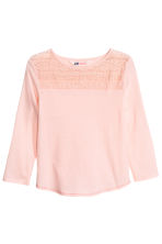 Jersey top with lace - Light pink - Kids | H&M CN 2
