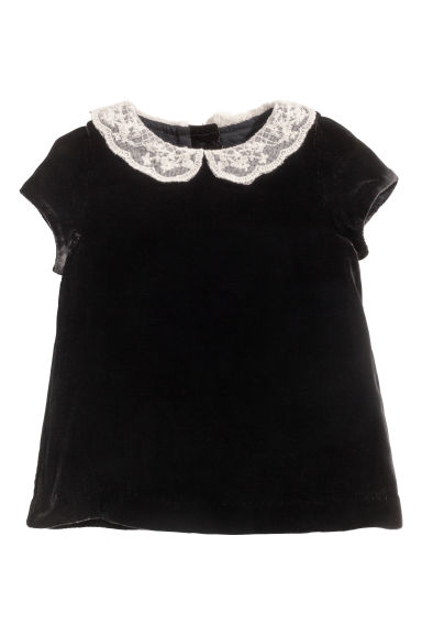 Silk-blend velvet dress - Black -  | H&M CN 1