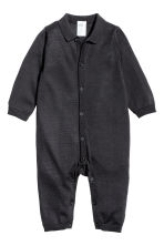 Silk-blend romper suit - Dark grey - Kids | H&M CN 1