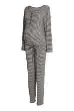 MAMA Striped jersey jumpsuit - Dark grey/Striped - Ladies | H&M CN 2