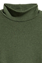 Ribbed jersey dress - Dark khaki green - Ladies | H&M CN 3
