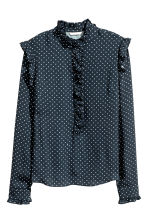 Frilled blouse - Dark blue/Spotted - Ladies | H&M CN 2