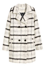 Wool-blend coat - Natural white/Checked - Ladies | H&M CN 2