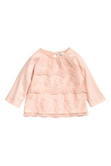 Jersey top with lace - Powder pink - Kids | H&M CN 1
