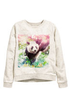 Printed sweatshirt - Light beige marl/WWF - Kids | H&M CN 2
