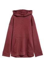 Oversized hooded top - Burgundy - Ladies | H&M GB 2