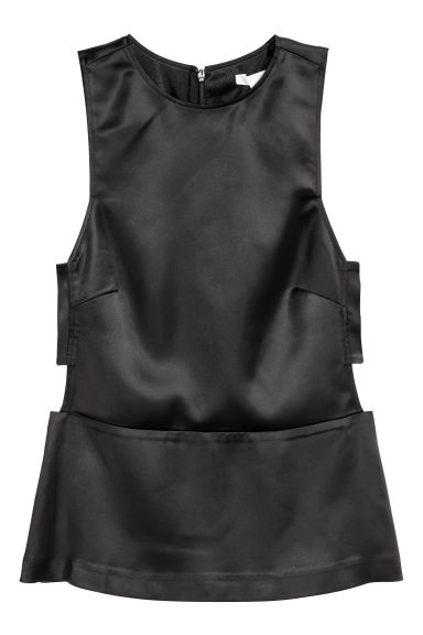 Camicetta smanicata in satin - Nero - DONNA | H&M IT 1