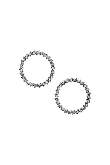 Round sparkly earrings - Silver - Ladies | H&M CN 1