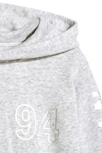 Printed hooded top - Light grey marl - Kids | H&M CN 4