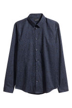 Shirt in premium cotton - Dark blue/Patterned - Men | H&M CN 2