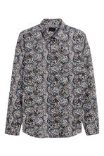 Shirt in premium cotton - Dark blue/Paisley - Men | H&M CN 2