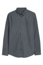 Cotton shirt Slim fit - Dark blue/Patterned - Men | H&M CN 2