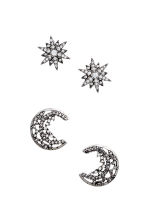 2 pairs of earrings - Silver - Ladies | H&M CN 1