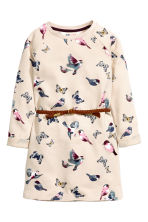 Dress with a belt - Light beige/Butterflies - Kids | H&M CN 2