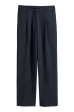 Wide suit trousers - Dark blue/Striped - Ladies | H&M CA 2