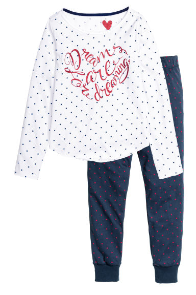 Jersey pyjamas - White/Spotted - Kids | H&M CN 1