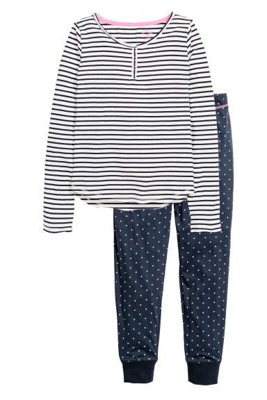 Jersey pyjamas - White/Dark blue/Striped - Kids | H&M CN 1