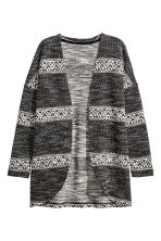 Jacquard-knit cardigan - Black/Striped -  | H&M CN 2