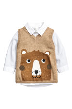 Shirt and slipover - White/Beige - Kids | H&M CN 1
