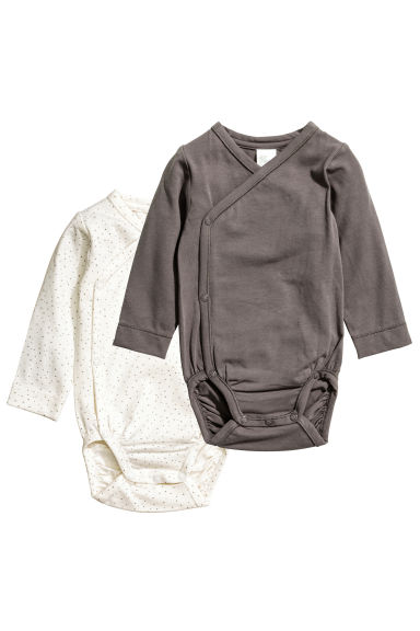 2-pack pima cotton bodysuits - Dark grey - Kids | H&M CN 1