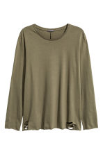 Trashed long-sleeved T-shirt - Khaki green - Men | H&M CN 2