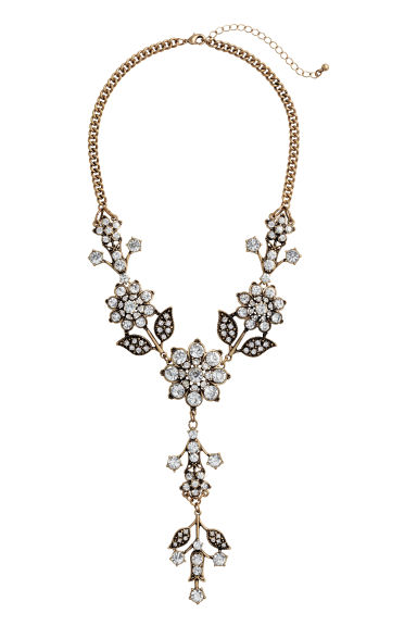 Sparkly stone necklace - Gold - Ladies | H&M CN 1