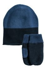 Hat and mittens - Dark blue - Kids | H&M CN 1