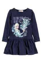 Print motif jersey dress - Dark blue/Frozen - Kids | H&M CN 2