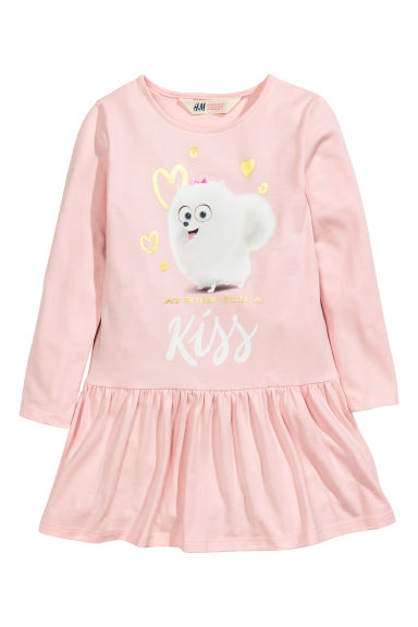 Print motif jersey dress - Pink/The Secret Life Of Pets - Kids | H&M CN 1